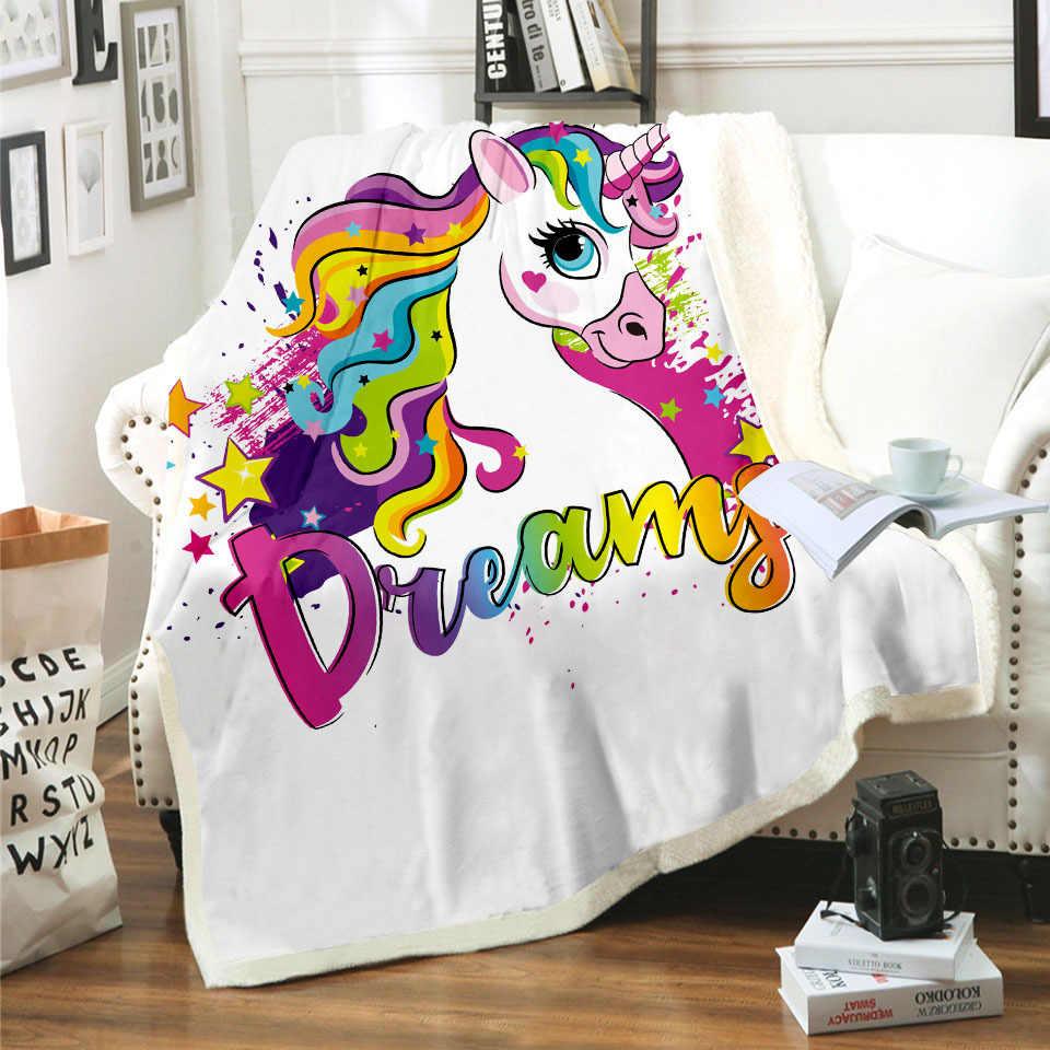 ¡Novedad de 2020! Manta con diseño de unicornio y caballo arcoíris en 3D, manta con estampado de Sherpa para niños y niñas, Textiles para el hogar con estilo de ensueño 03