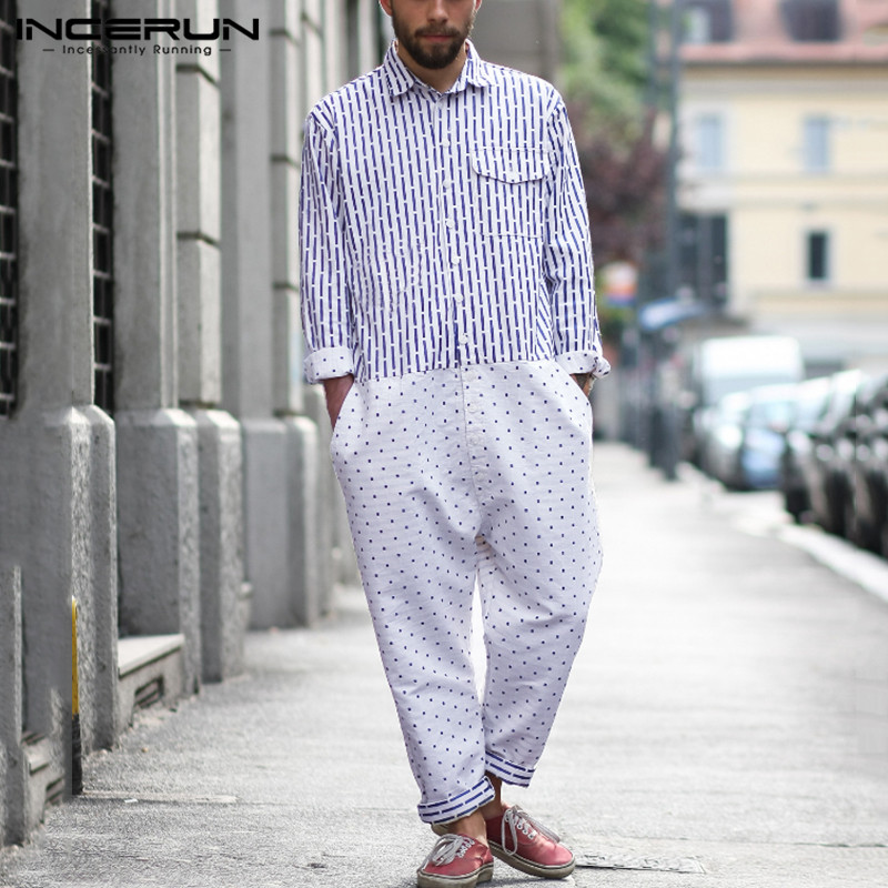 INCERUN Fashion Men Jumpsuit Polka Dot Print Patchwork Long Sleeve Button Lapel Joggers Pants Loose Overalls Streetwear Rompers