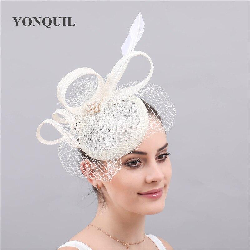 Yarn vintage sinamay wedding hat bride fascinaor accessories mesh women headpiece prom party marriage brdal headwear veilling