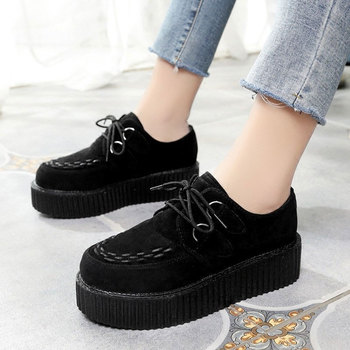 Creepers casual shoes woman platform sneakers women shoes 2020 fashion lace-up solid comfortable flats lady shoes women sneakers rasmeup women s platform clunky sneakers 2018 fashion lace up dorky women walking dad shoes casual white woman flats footwear