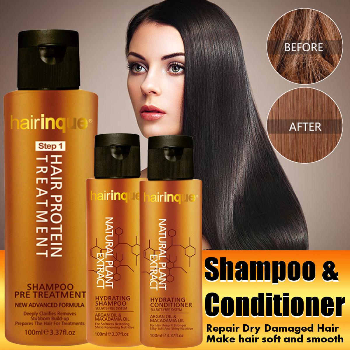 hairinque Sulfate-free Oil Nut Oil Shampoo Conditioner Moisturizing Smooth Frizz-free Repair Dry Damaged Hair Combination image