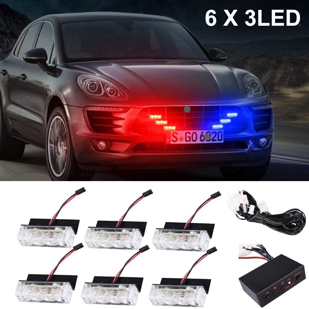 Blau Rot 18LED Dash Deck Visier Grille Strobe Lichter für Polizei Fahrzeuge-Blinkende Notfall Warnung Polizei Lichter