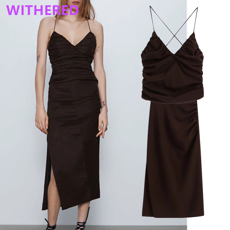Withered England Vintage Solid Sexy Spaghetti Strapless Sexy Blusas Blouse Women Pleated  Long Skirt Women Faldas Two Pieces Set