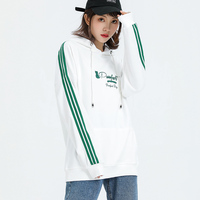 Jvzkass 2019 long sleeved hooded female style bf three bars student class service long section drawstring hat sweatshirt Z317
