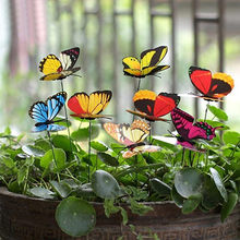 100pcs Butterflies Garden Yard Planter Colorful Whimsical Butterfly Stakes Decoracion Outdoor Decor Flower Pots Decoration(China)