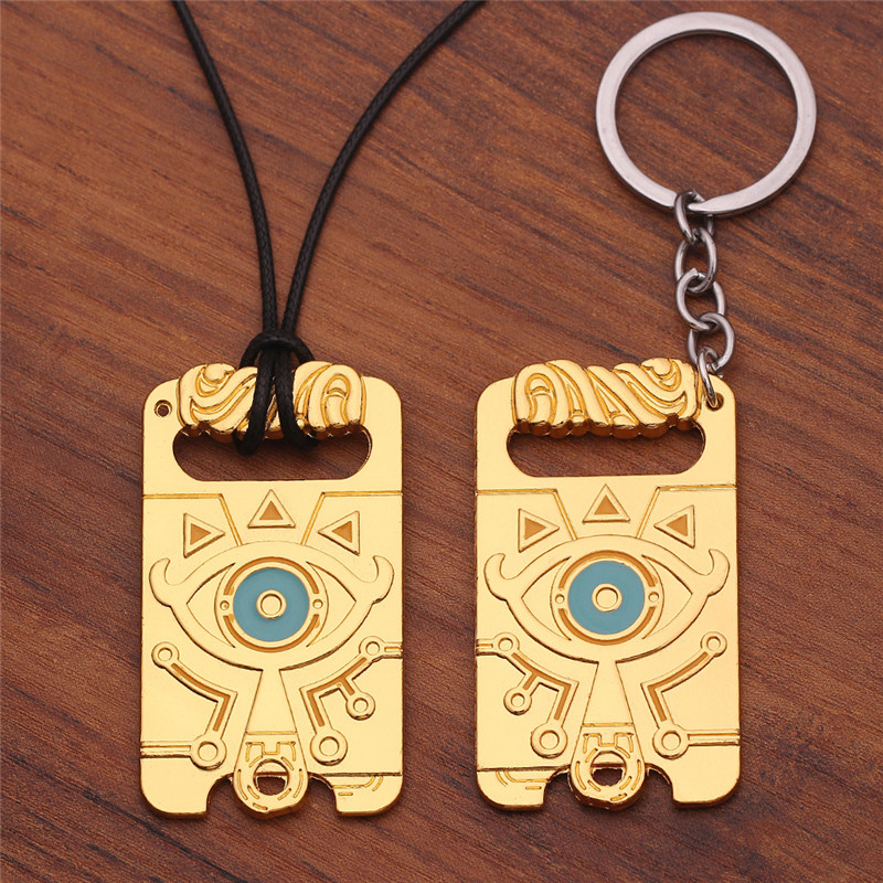 Game Anime Zelda Breath Of The Wild cosplay Props Mysterious eye necklace Keychain key ring key chain Clothing accessories Props image
