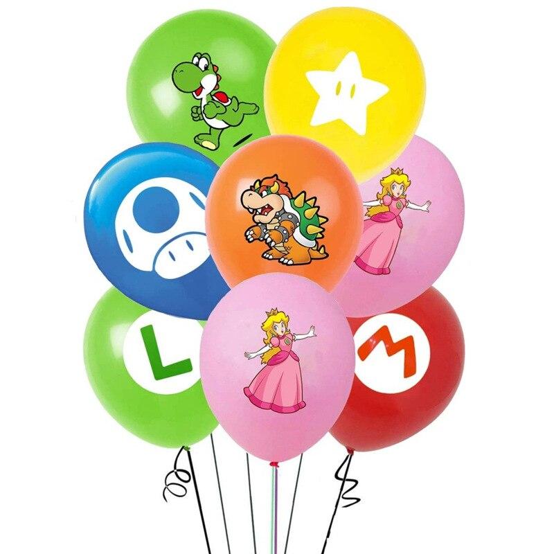 12 шт. Супер Марио Аниме Супер Марио Братья Супер Марио и Луиджи Bowser Принцесса Персик гриб тема воздушных шаров детский день рождения украшен...