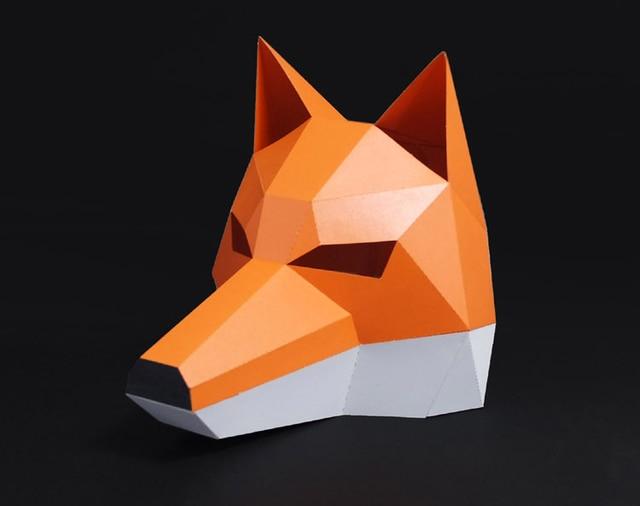 3D Cut Free Paper Mask Fox Animal Halloween Christmas Costume Cosplay DIY Paper Craft Model Kit 2