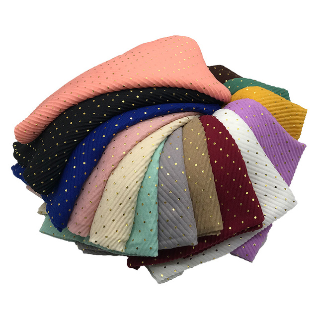 $  New solid hot gold small circle women scarf crinkled shimmer hijab shawls muslim head wraps 10pcs fast shipping