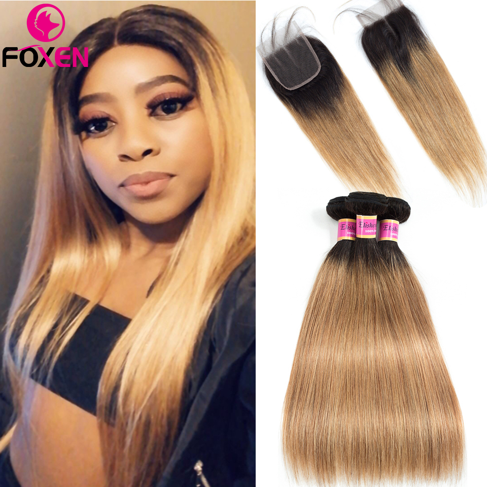 Foxen Ombre 1B/27 Bundles With Closure Colored Blonde 3 Bundles With Closure Peruvian Straight Human Hair Bundles With Closure