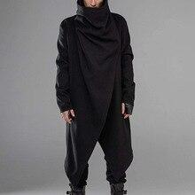 Мужчины плащ пальто уличная одежда водолазка однотонный длинный рукав мода мужские накидка верхняя одежда панк стиль нестандартные куртки S-5XL