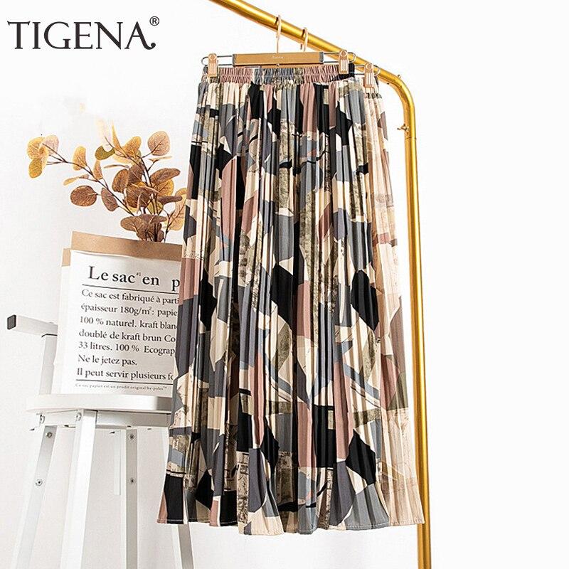 TIGENA Vintage Long Pleated Skirt Women 2020 Summer Holiday Beautiful Colorful Print Chiffon High Waist Maxi Skirt Female