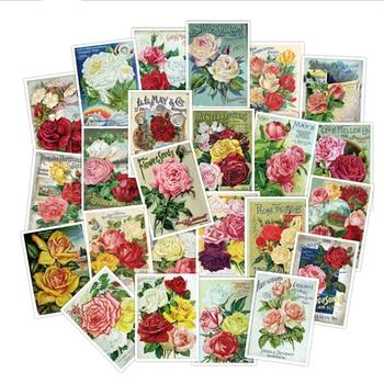 10/30/50PCS Classic Retro Girl Rose Flower Fresh Laptop Suitcase Skateboard Guitar Decoration Sticker Wholesale