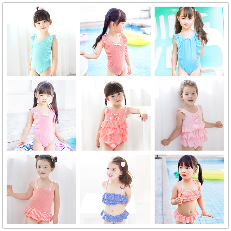 2020 Hot Selling KID'S Swimwear Baby CHILDREN'S Small Children GIRL'S Students With Bubble One-piece Split Type Swimwear Combina