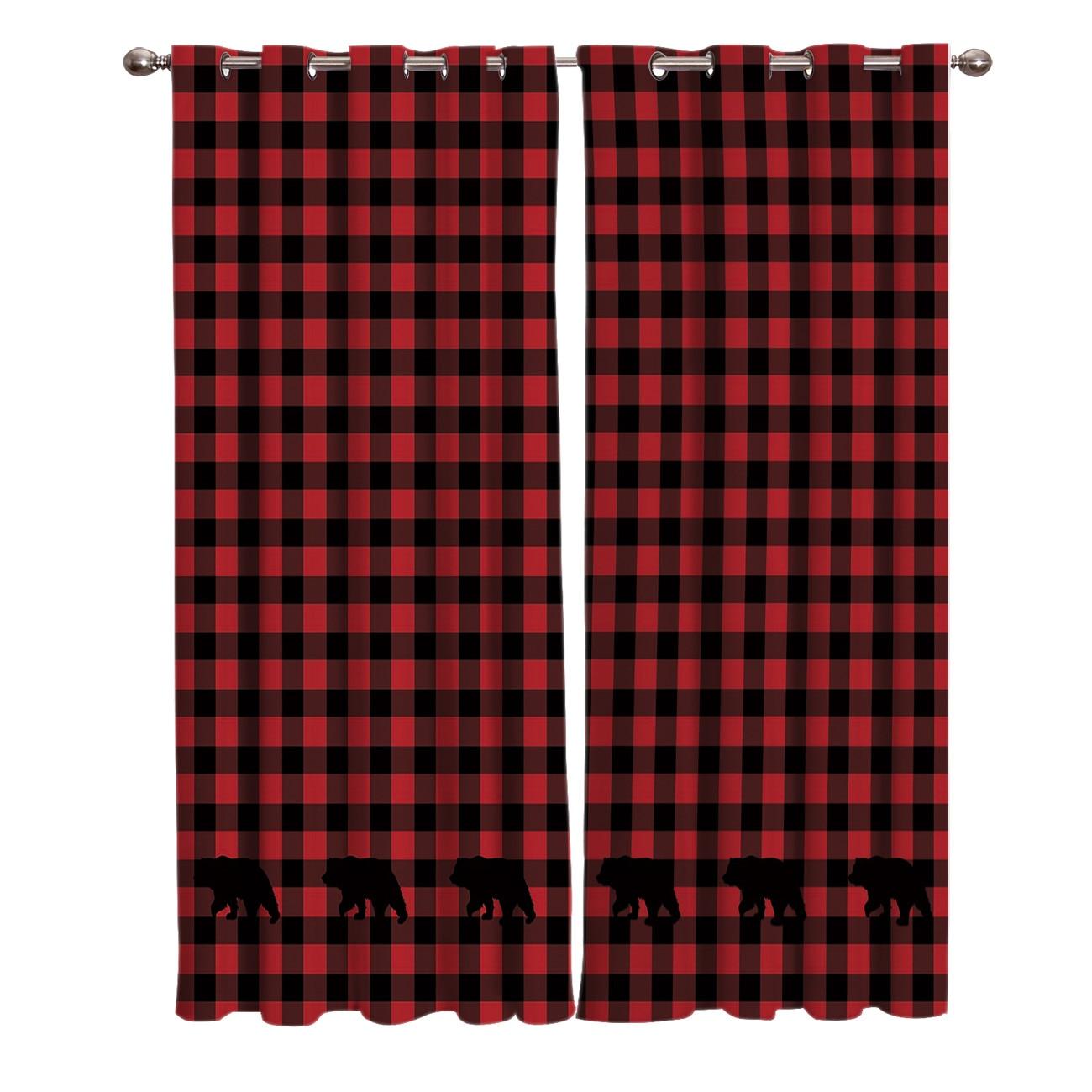 red black plaid bear window curtains curtain rod living room bathroom decor print window treatment ideas window draperies party
