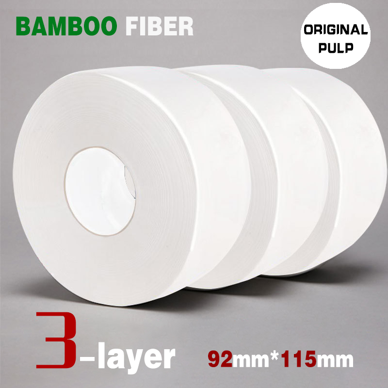 1 Roll Toilet Paper 3-Layer Jumbo Roll Native Bamboo Soft Toilet Paper Pulp Home Rolling Paper Strong Water Absorption