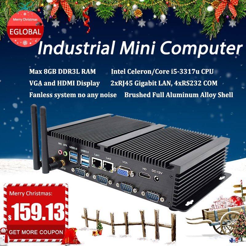 Egobal Fanless Industrial Pc Intel Celeron 1037U With 4COM Cpu Gamer VGA HD DDR3L Dual LAN Mini Desktop Pc