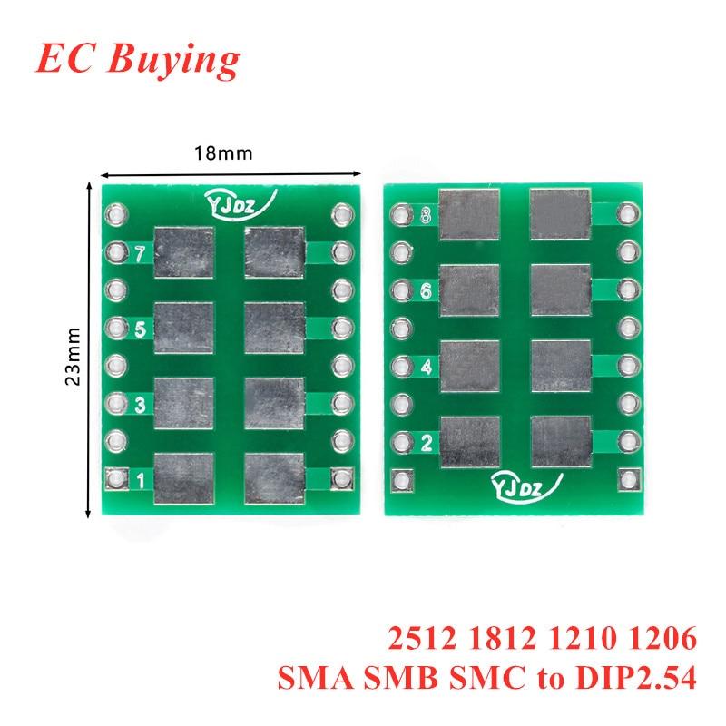 5 шт. SMD для DIP-адаптера, плата преобразователя, разъем 2512 1812 1210 1206 SMA SMB SMC для DIP-поворота 2,54 мм, поворотный DIP-адаптер