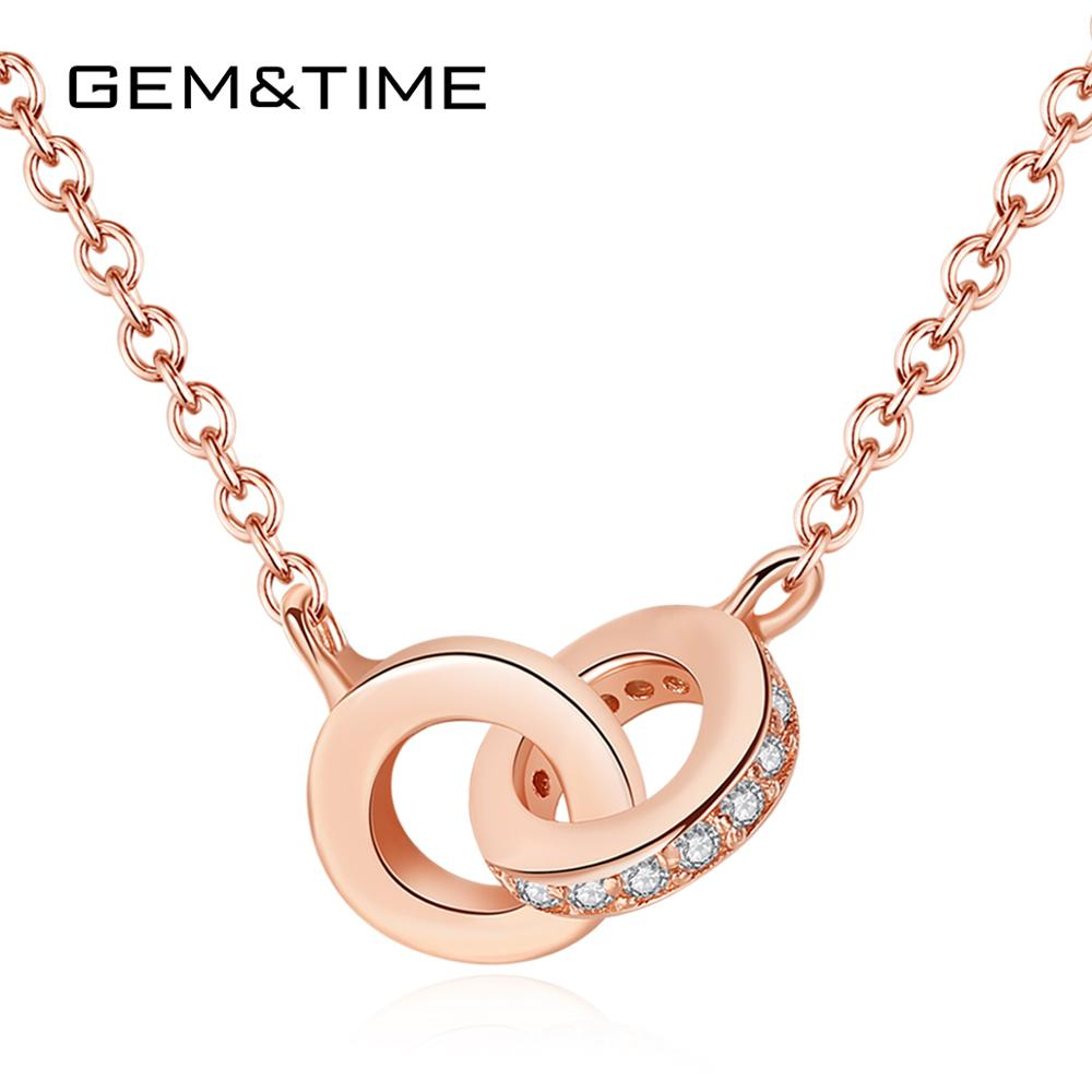 Gem&Time Korean 925 Sterling Silver Row Zircon Double Annulus Pendant Necklace Choker Clavicle Necklace Fine Jewelry Gift SN0067