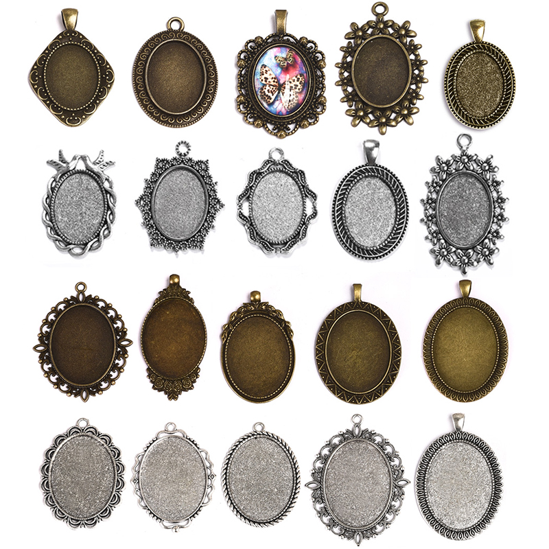 10pcs Antique Silver Color 18X25mm 30X40mm Oval Cabochon Base Setting Charms Pendant Bezel Tray For DIY Jewelry Making Findings(China)