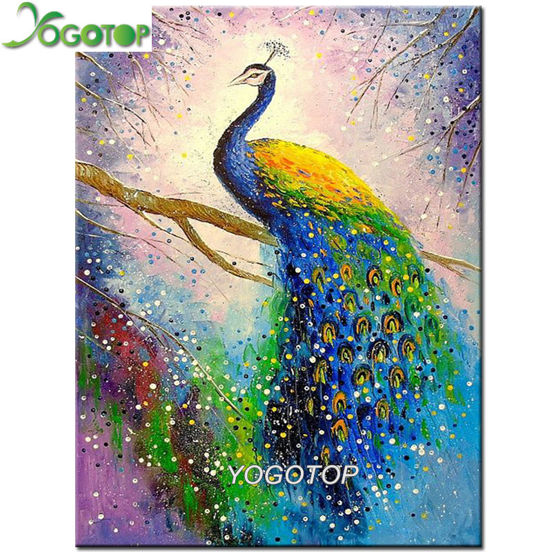 Diy Diamond Painting watercolor Colorful peacock Full drill Mosaic Rhinestones of Pictures 5d Diamond Embroidery Animal YY1957