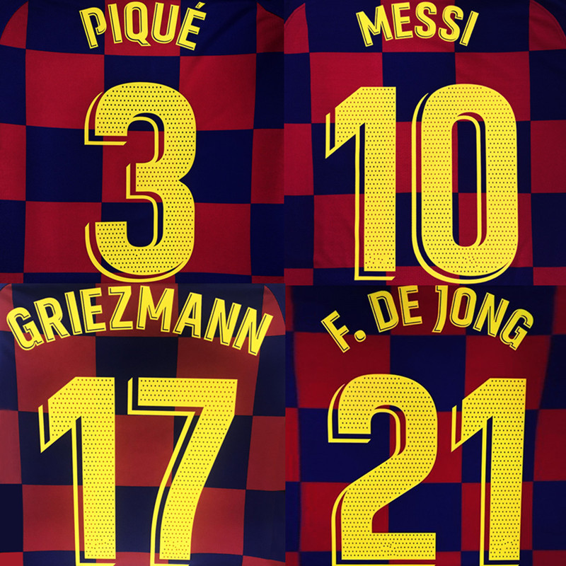 2019-20 MESSI SUAREZ GRIEZMANN DE JONG PIQUE ARTHUR Home Dembélé Custom Namesets Football Badges Patch