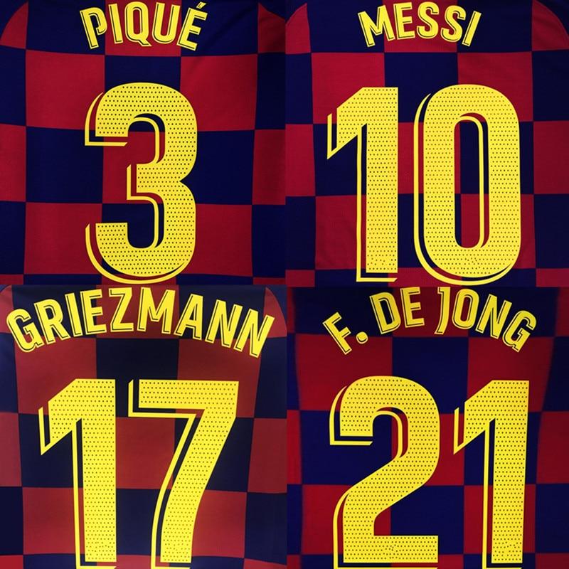 2019-20 MESSI SUAREZ GRIEZMANN DE JONG PIQUE ARTHUR Home Dembélé Custom Namesets Football Badges Patch