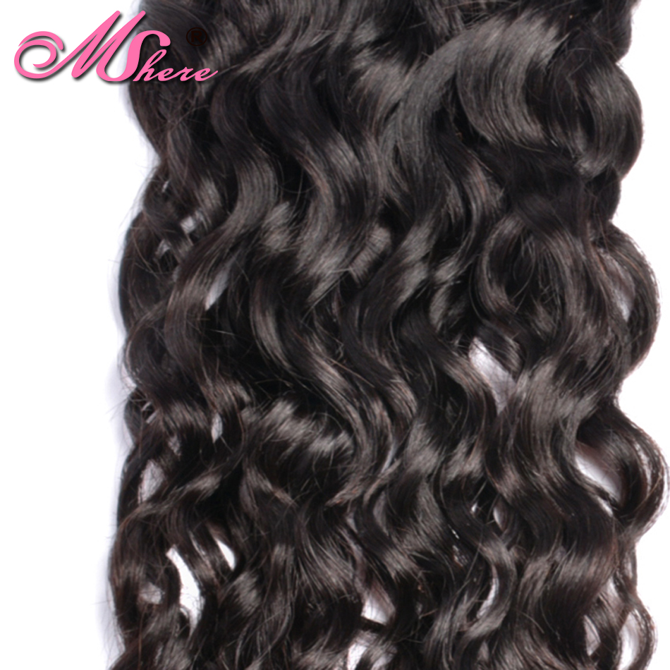 Image 5 - Mshere Indian Human Hair Water Wave Hair Weave Bundles Natural Color Non remy Hair Extensions Can Be Dyed 1Pc Hair Bundles-in Hair Weaves from Hair Extensions & Wigs