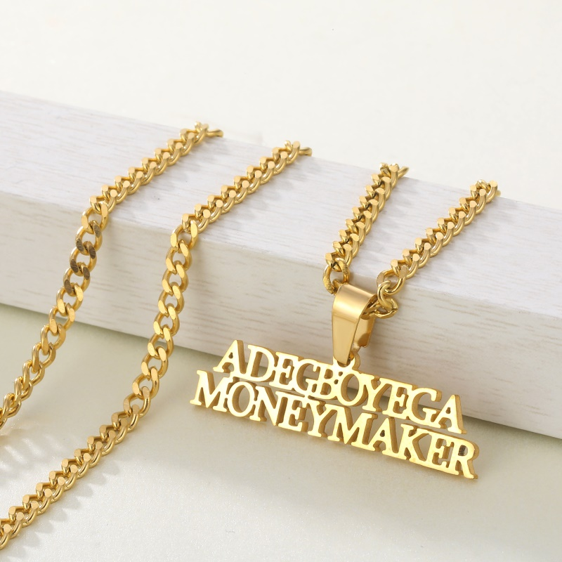 3mm Cuban Chain Name Necklaces & Pendant Letters Custom Name Charm For Men Women Gold Plated Hip Hop Jewelry Birthday Gift 1