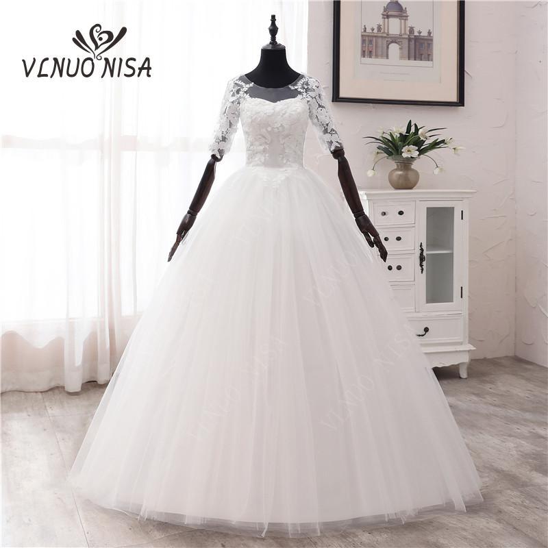 Simple OFF White Sweet Wedding Dress Delicate Embroidery Appliques O-Neck Bride Dress Ball Gown Cheap Plus Size Vestido De Noiva