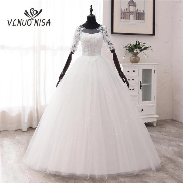 간단한 오프 화이트 스위트 웨딩 드레스 섬세한 자수 아플리케 o 넥 신부 드레스 볼 가운 저렴한 플러스 사이즈 Vestido De Noiva