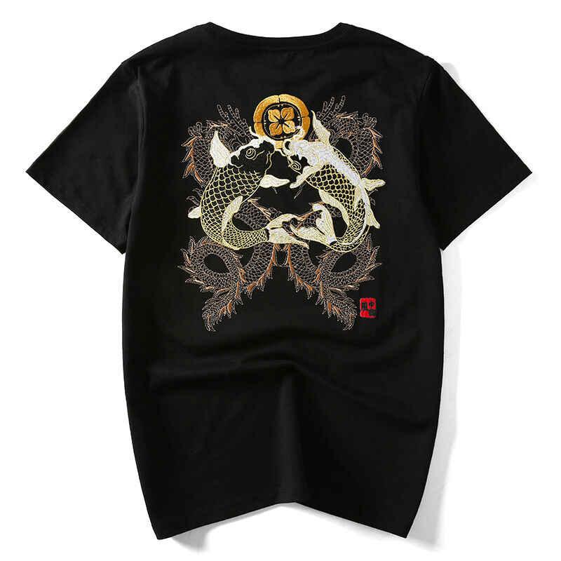 Camiseta bordada con patrón japonés para hombre Sukajan Tee carpas pez negro blanco Streetwear Unisex S-3Xl