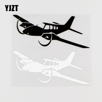 YJZT 15.5X6.7CM Twin Engine Light Aircraft Funny Vinyl Car Stickers Decals Black / Silver 10A-0025 image