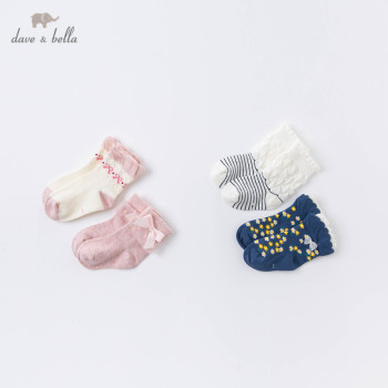DB15691 dave bella autumn fashion baby girls lolita bow floral cartoon sock children girl socks image