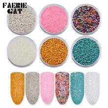 6 цветов/набор микро стальных бусин для дизайна ногтей икра