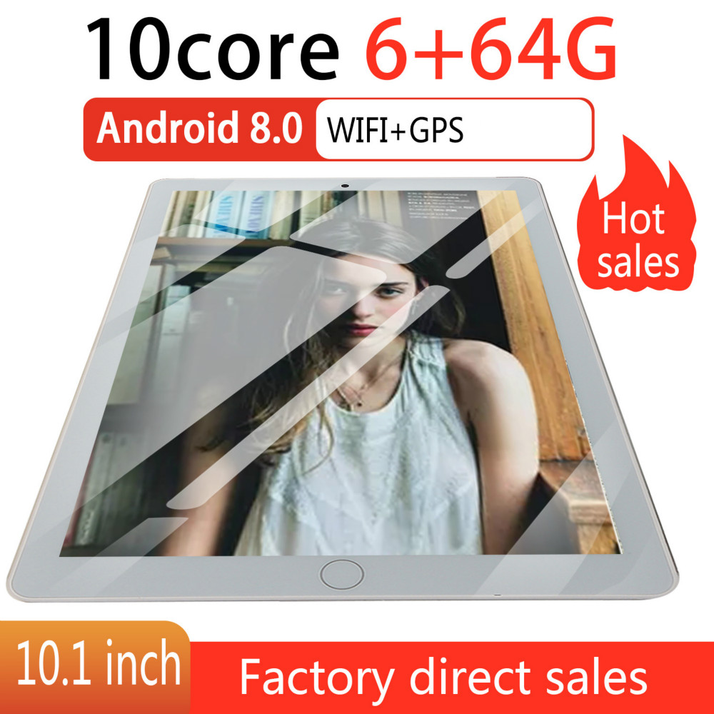 10.1 Inch Android 8.0 Tablet Android Octa Core MTK6582 RAM 6GB ROM 64GB 4G Dual SIM Card Phone 4G Call Wifi Tablets PC