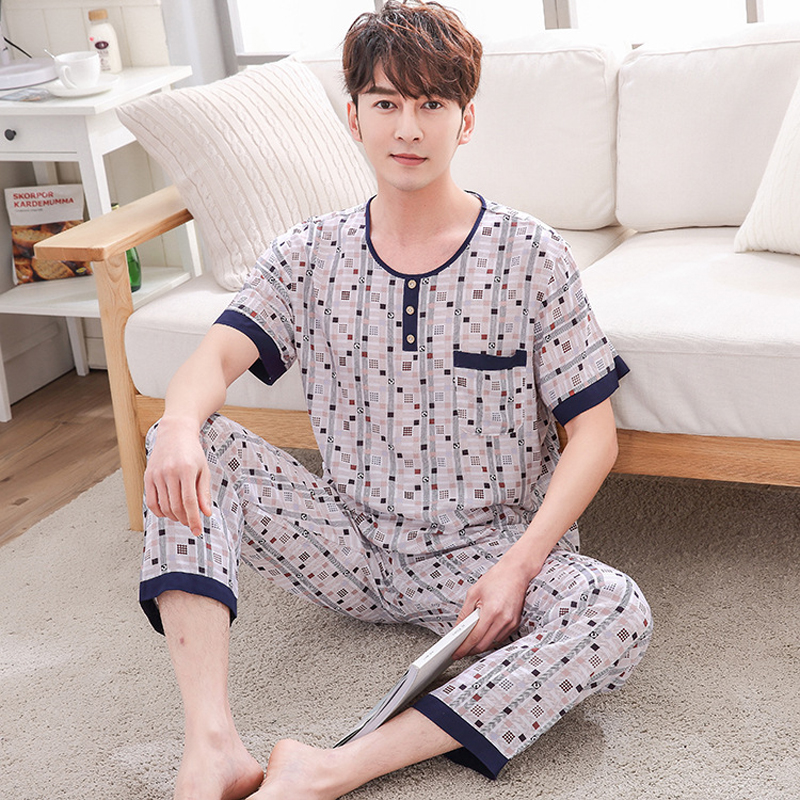 Spring Summer Cotton Men'S Pajamas Cotton Short-Sleeved Trousers Suit Home Service Dad Wear Sleepwear Home Clothing XXXL