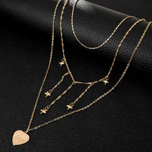 Vintage Multi Layered Necklace For Women Bohemian Star Letters Geometric Chain Heart Shaped Pendant Necklace Collar Jewelry New acorn shaped silicone chain zinc alloy pendant necklace black copper multi colored