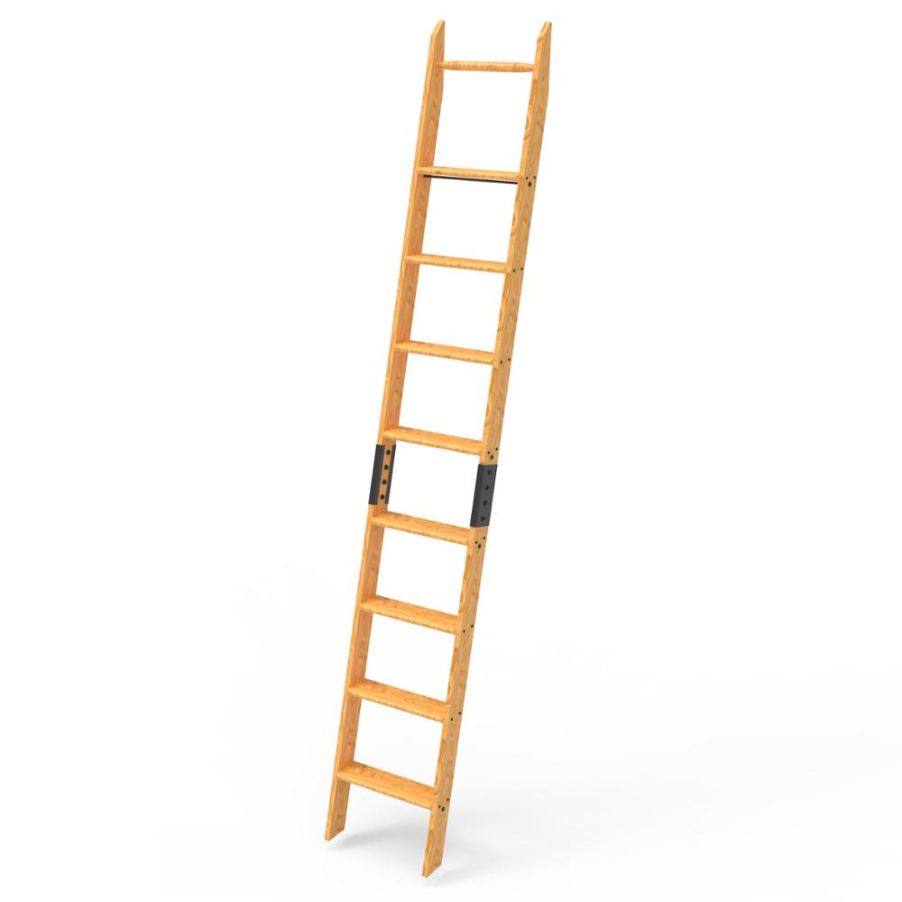 Solid Wood Red Oak 8ft Library Ladder Unassembled Easy Installed