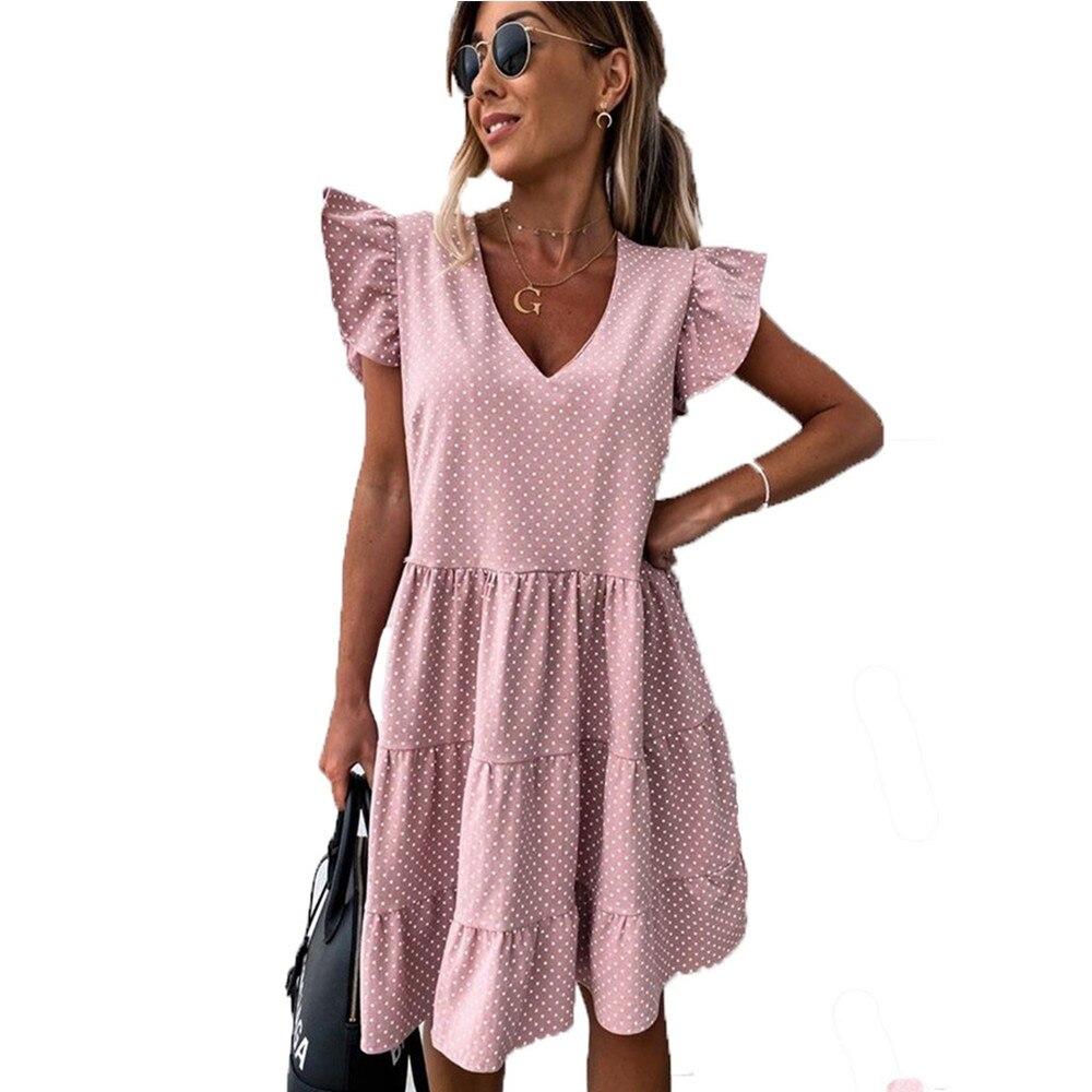فستان صيفي قصير غير رسمي بنقاط البولكا ، بدلة شاطئ نسائية مثيرة ، مقاس كبير ، ياقة على شكل V ، 2021|Dresses| - AliExpress
