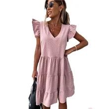 Mini Dress Street Polka-Dot V-Neck Sexy Casual Plus-Size Beach Vestidos Female Loose