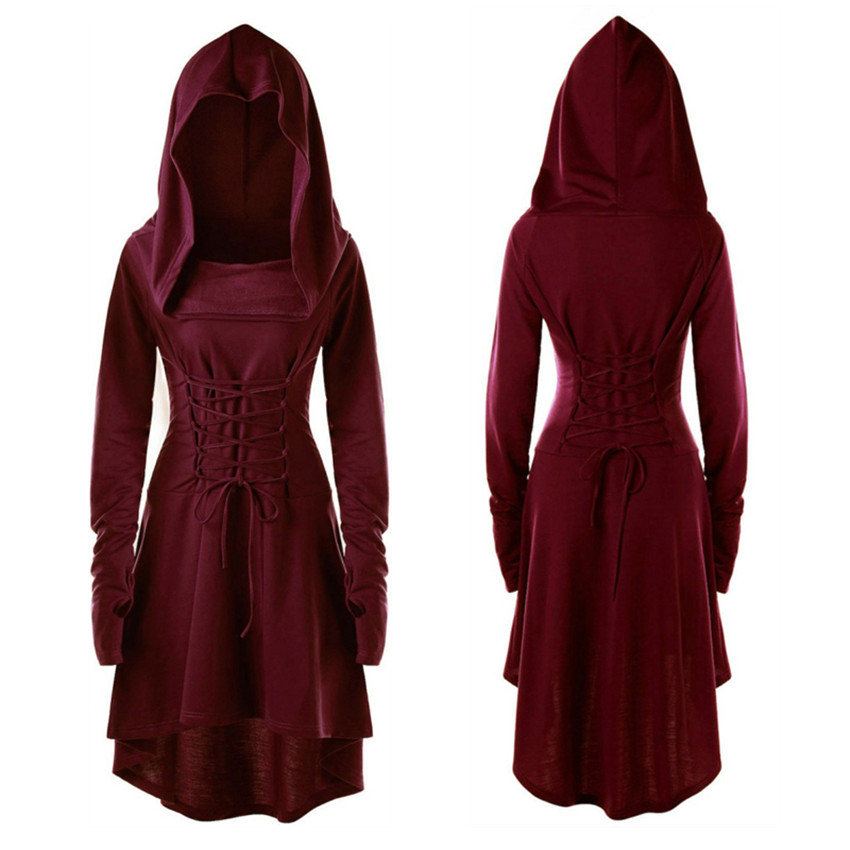 Medieval Costume Women Lace Up Hooded High Low Dress Girls Victorian Casual Hoodies Jacket Coat