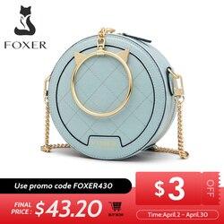 FOXER Женская мини сумка через плечо, элегантная маленькая сумка-тоут, женская кожаная круглая сумка, модный стиль, Дамский круглый клатч, сумк...