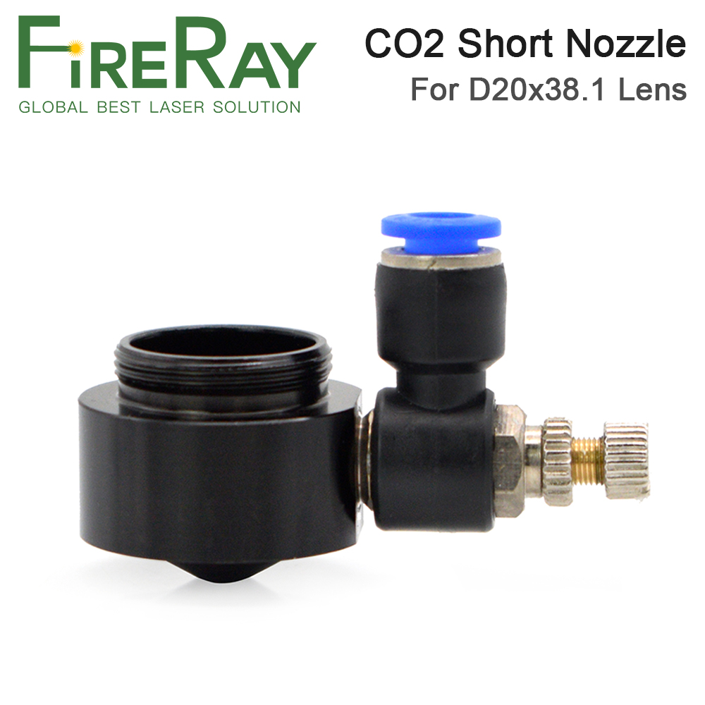 Fireray Air Nozzle For Dia.20 FL38.1mm Focus Lens Co2 Short Nozzle With Fitting For Laser Head At CO2 Laser Cutting Machine