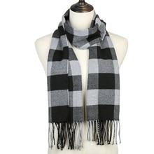 Модный клетчатый шарф для женщин и мужчин, зимние кашемировые шали из пашмины, теплые однотонные детские клетчатые длинные шарфы с кисточками для улицы