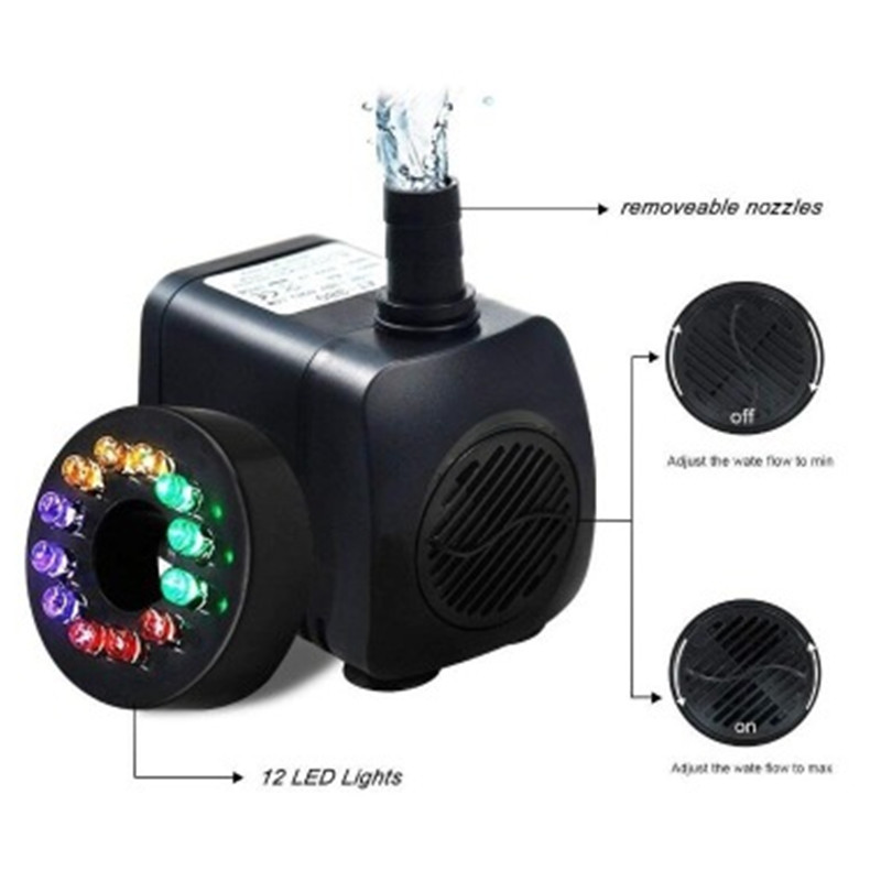15W 210-GPH US110V/EU220V Submersible Pump LED Mini Water Pump For Aquarium Fish Tank Pond Fountain