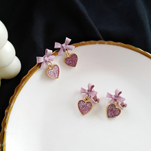 temperament women sweet bow earrings Japanese and Korean fashion pink love sequins