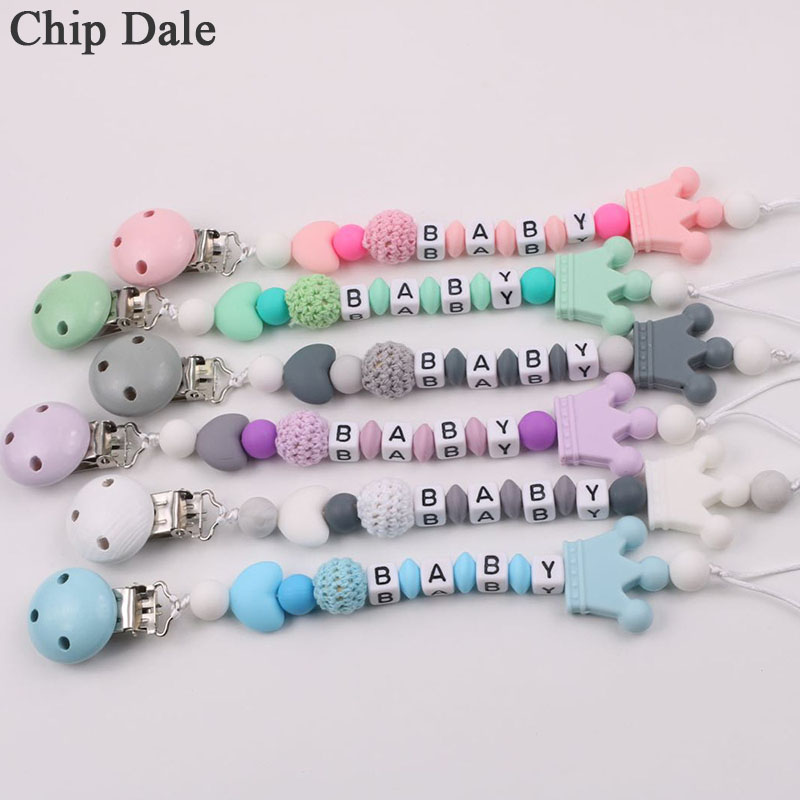 Chip Dale Personalized Name Baby Pacifier Clips Dummy Clips Crown Pacifier Chain Holder For Baby Teething Soother Chew Toy