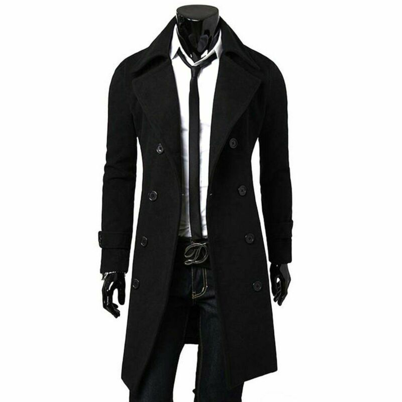 Fashion Autumn Winter Jacket Quality Long Trench Coat For MenThicken Jacket Woolen Slim Male Black Male Overcoat Windbreaker