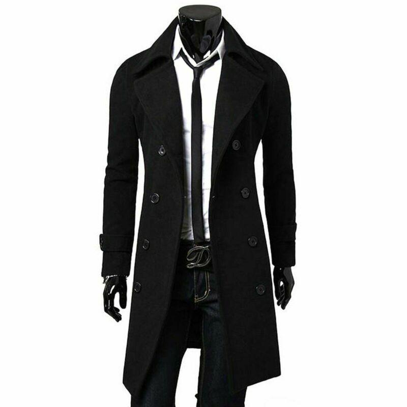 Fashion Autumn Winter Jacket Quality Long Trench Coat For MenThicken Jacket Woolen Slim Male Black Male Overcoat Windbreaker